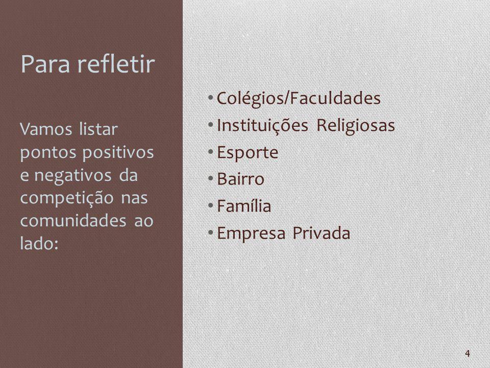 4 Para refletir Colégios / Faculdades Instituições Religiosas Esporte Bairro Família Empresa Privada Vamos listar pontos positivos e negativos da comp