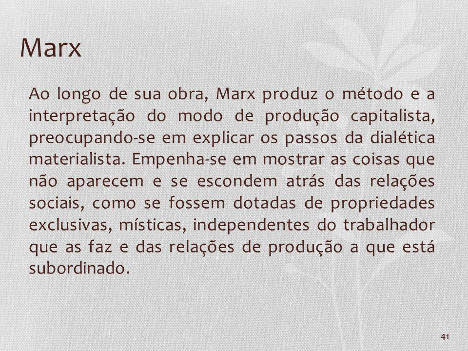 41 Marx Ao longo de sua obra, Marx produz o método e a interpretação do modo de produção capitalista, preocupando-se em explicar os passos da dialétic