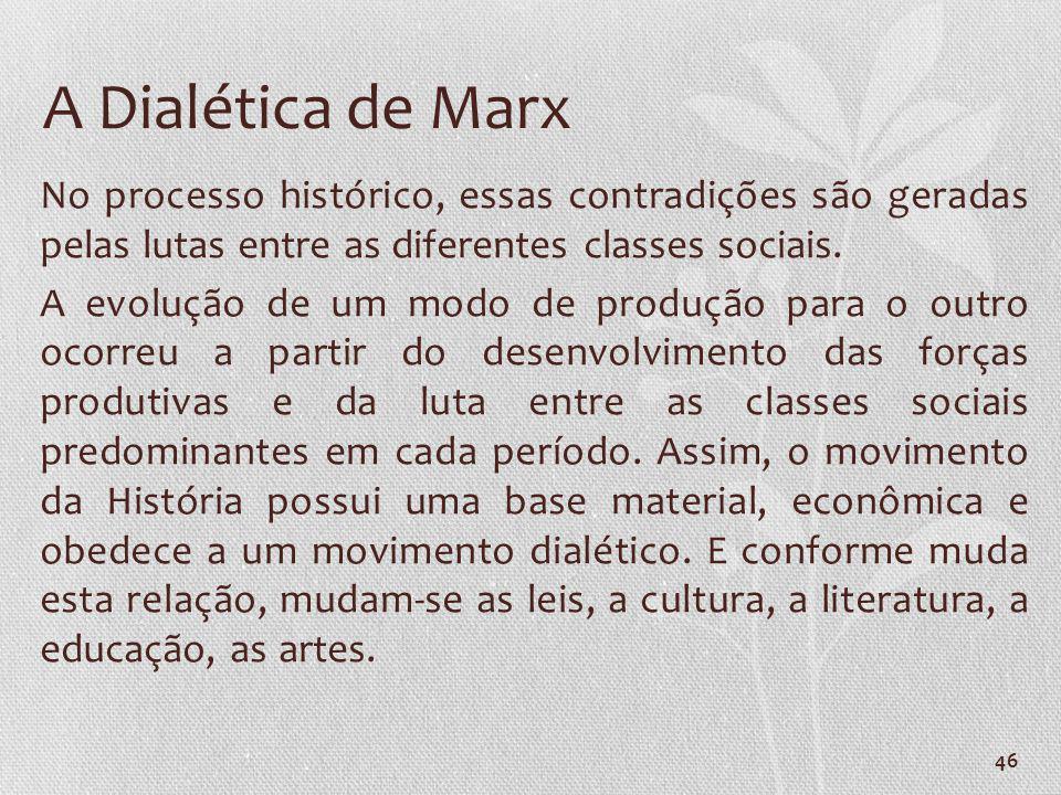 46 A Dialética de Marx No processo histórico, essas contradições são geradas pelas lutas entre as diferentes classes sociais. A evolução de um modo de
