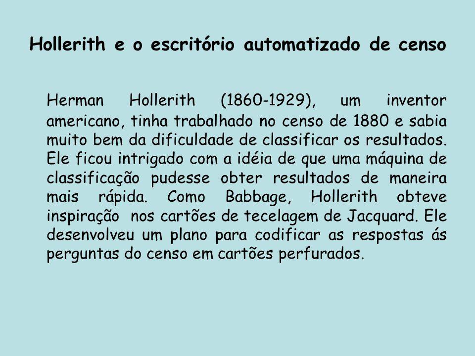 Hollerith e o escritório automatizado de censo Herman Hollerith (1860-1929), um inventor americano, tinha trabalhado no censo de 1880 e sabia muito be