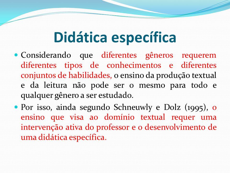 Didática específica Considerando que diferentes gêneros requerem diferentes tipos de conhecimentos e diferentes conjuntos de habilidades, o ensino da