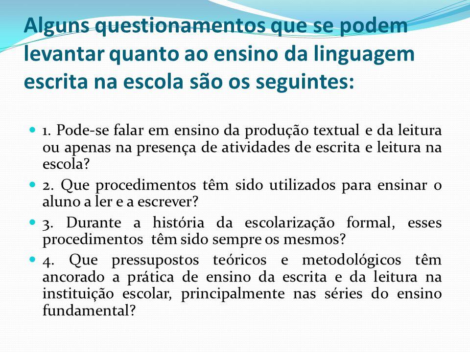 Alguns questionamentos que se podem levantar quanto ao ensino da linguagem escrita na escola são os seguintes: 1. Pode-se falar em ensino da produção