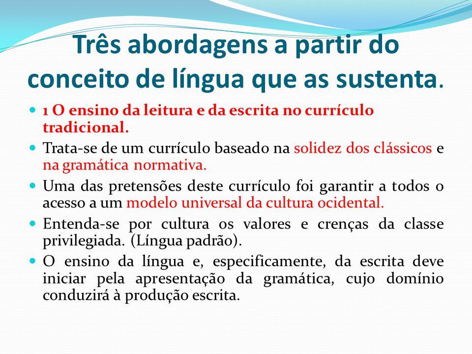 Três abordagens a partir do conceito de língua que as sustenta. 1 O ensino da leitura e da escrita no currículo tradicional. Trata-se de um currículo