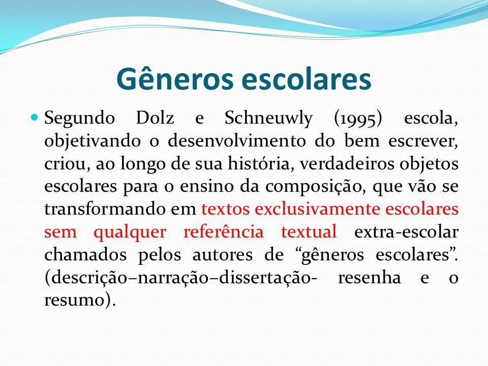 Gêneros escolares Segundo Dolz e Schneuwly (1995) escola, objetivando o desenvolvimento do bem escrever, criou, ao longo de sua história, verdadeiros