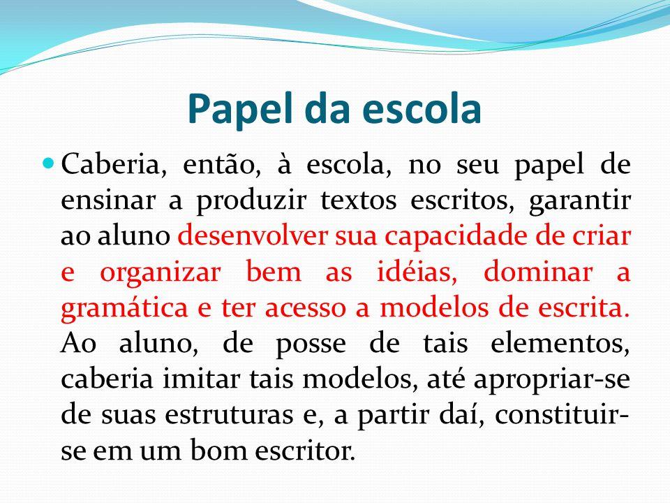 Papel da escola Caberia, então, à escola, no seu papel de ensinar a produzir textos escritos, garantir ao aluno desenvolver sua capacidade de criar e