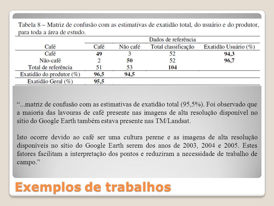 Exemplos de trabalhos...matriz de confusão com as estimativas de exatidão total (95,5%). Foi observado que a maioria das lavouras de café presente nas