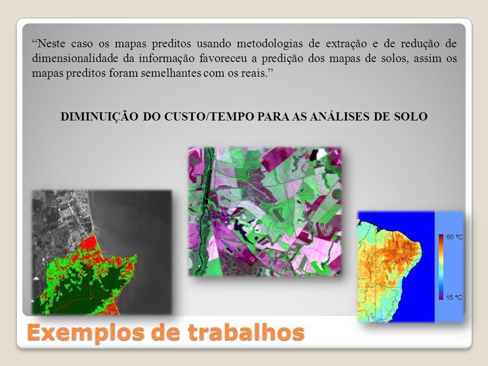 Exemplos de trabalhos Neste caso os mapas preditos usando metodologias de extração e de redução de dimensionalidade da informação favoreceu a predição