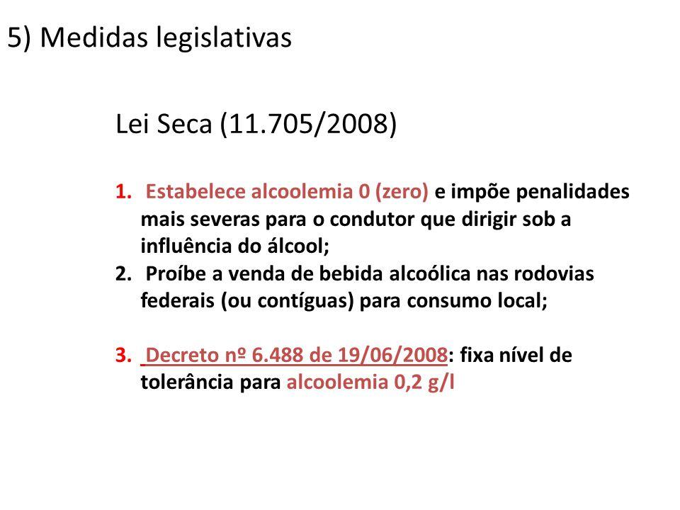5) Medidas legislativas Lei Seca (11.705/2008) 1. Estabelece alcoolemia 0 (zero) e impõe penalidades mais severas para o condutor que dirigir sob a in
