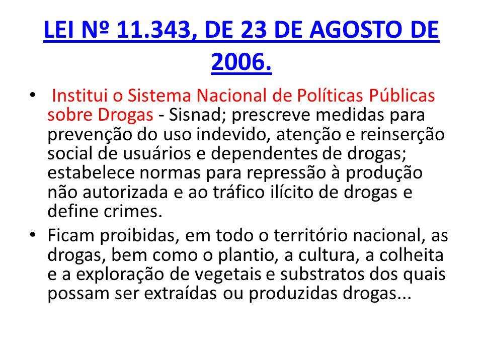 LEI Nº 11.343, DE 23 DE AGOSTO DE 2006. Institui o Sistema Nacional de Políticas Públicas sobre Drogas - Sisnad; prescreve medidas para prevenção do u