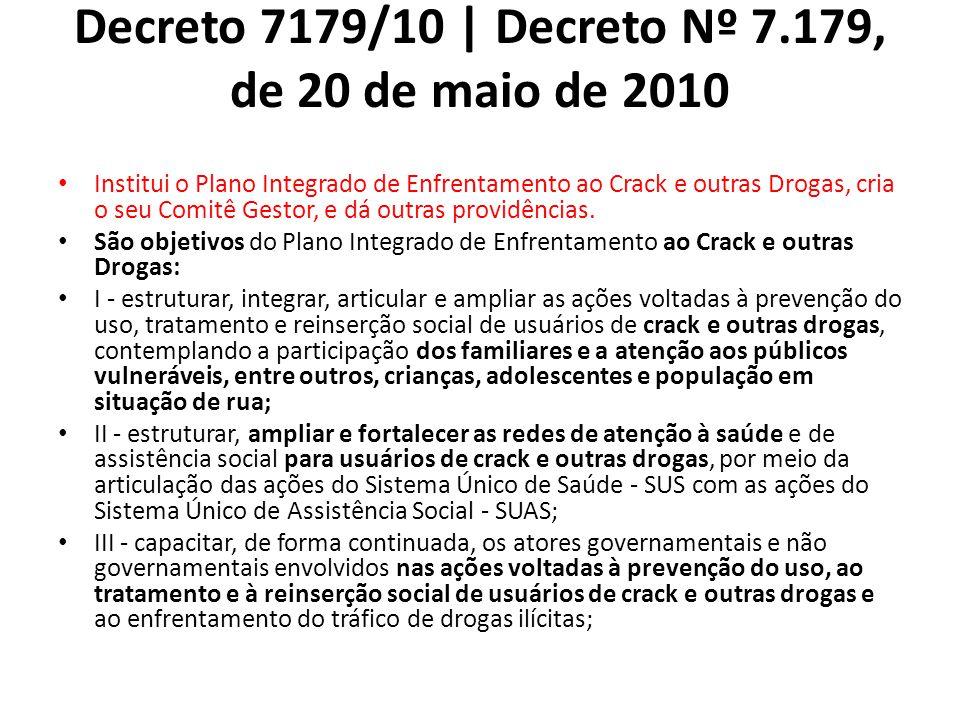 Decreto 7179/10 | Decreto Nº 7.179, de 20 de maio de 2010 Institui o Plano Integrado de Enfrentamento ao Crack e outras Drogas, cria o seu Comitê Gestor, e dá outras providências.