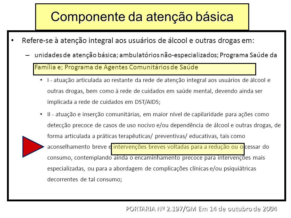 20 Refere-se à atenção integral aos usuários de álcool e outras drogas em: – unidades de atenção básica; ambulatórios não-especializados; Programa Saú