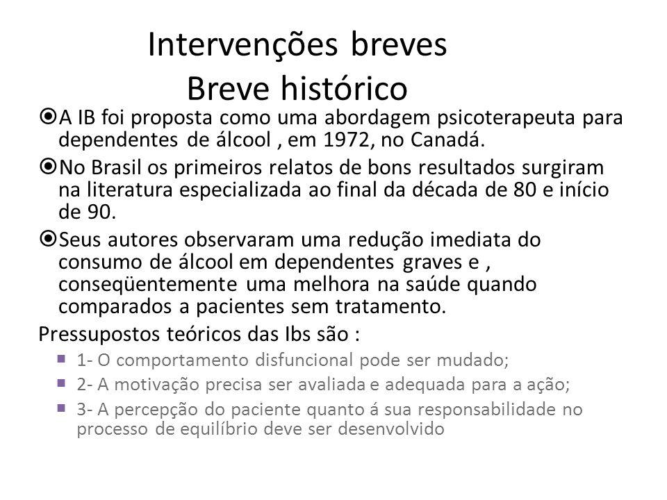 Intervenções breves Breve histórico A IB foi proposta como uma abordagem psicoterapeuta para dependentes de álcool, em 1972, no Canadá. No Brasil os p