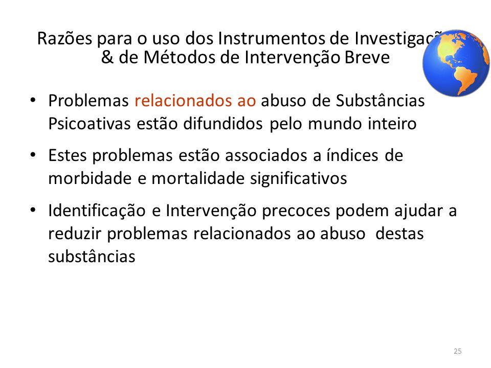 25 Razões para o uso dos Instrumentos de Investigação & de Métodos de Intervenção Breve Problemas relacionados ao abuso de Substâncias Psicoativas est