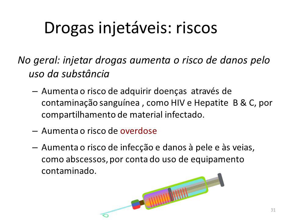 31 Drogas injetáveis: riscos No geral: injetar drogas aumenta o risco de danos pelo uso da substância – Aumenta o risco de adquirir doenças através de contaminação sanguínea, como HIV e Hepatite B & C, por compartilhamento de material infectado.