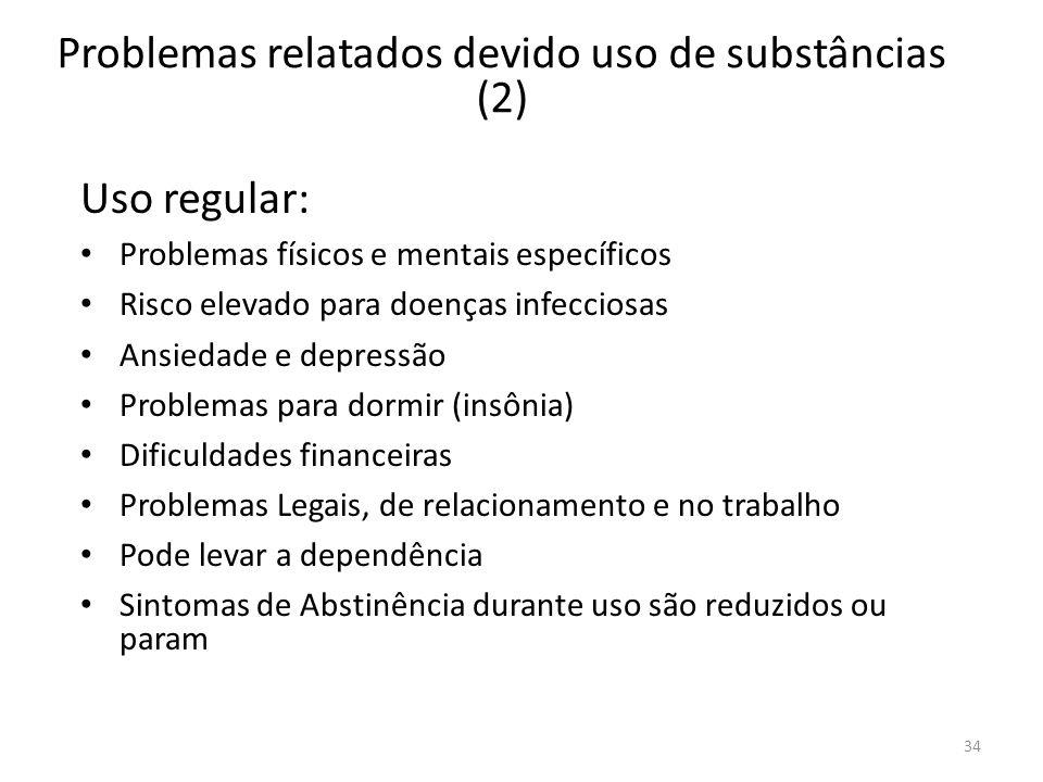 34 Problemas relatados devido uso de substâncias (2) Uso regular: Problemas físicos e mentais específicos Risco elevado para doenças infecciosas Ansie