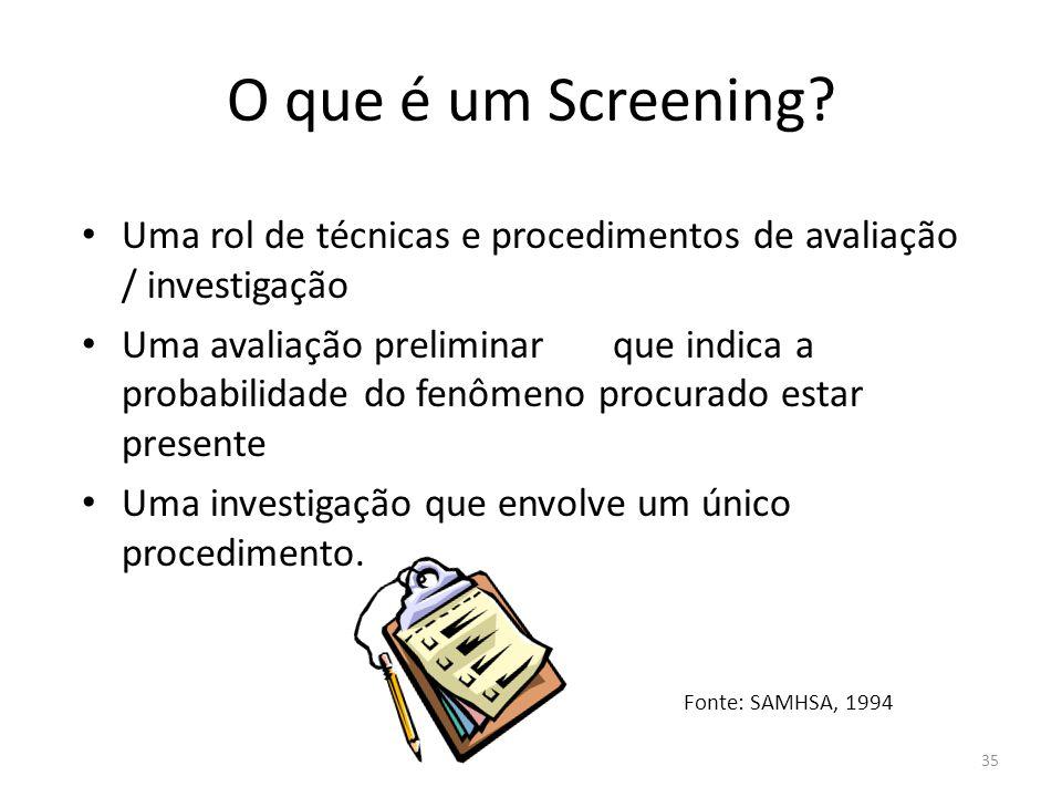 35 O que é um Screening? Uma rol de técnicas e procedimentos de avaliação / investigação Uma avaliação preliminar que indica a probabilidade do fenôme