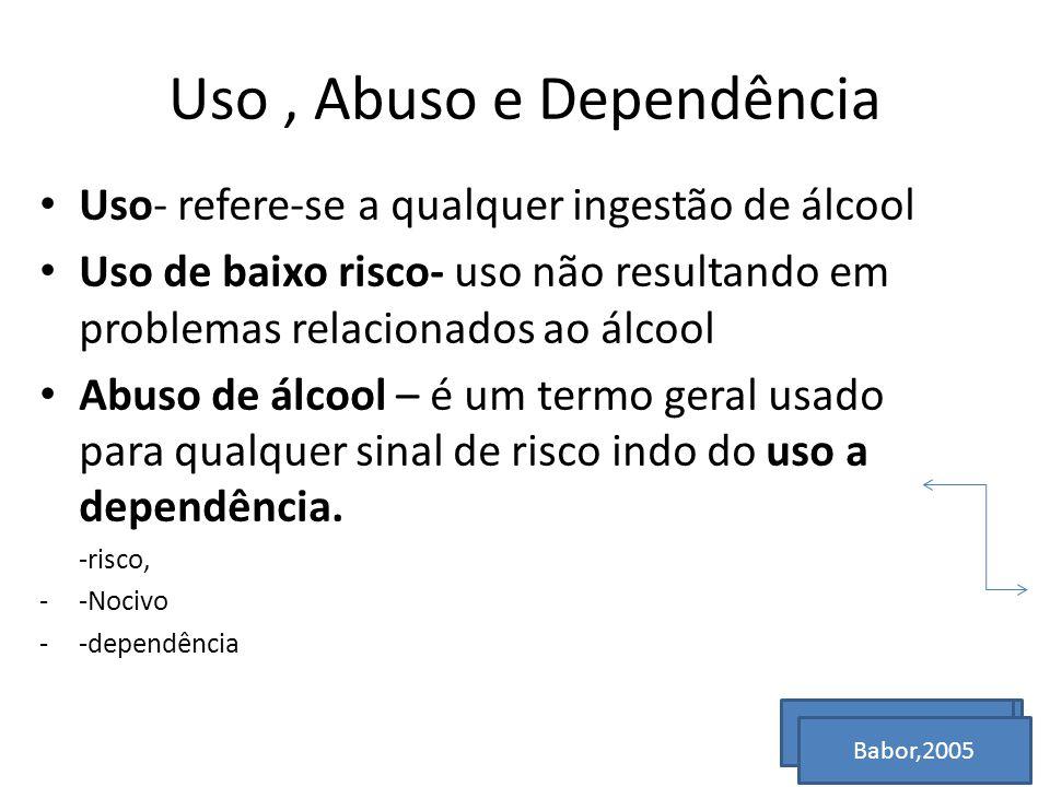 Uso, Abuso e Dependência Uso- refere-se a qualquer ingestão de álcool Uso de baixo risco- uso não resultando em problemas relacionados ao álcool Abuso de álcool – é um termo geral usado para qualquer sinal de risco indo do uso a dependência.