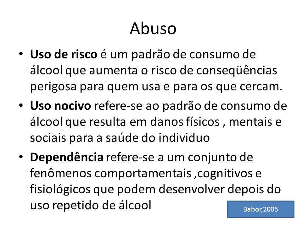 Abuso Uso de risco é um padrão de consumo de álcool que aumenta o risco de conseqüências perigosa para quem usa e para os que cercam. Uso nocivo refer