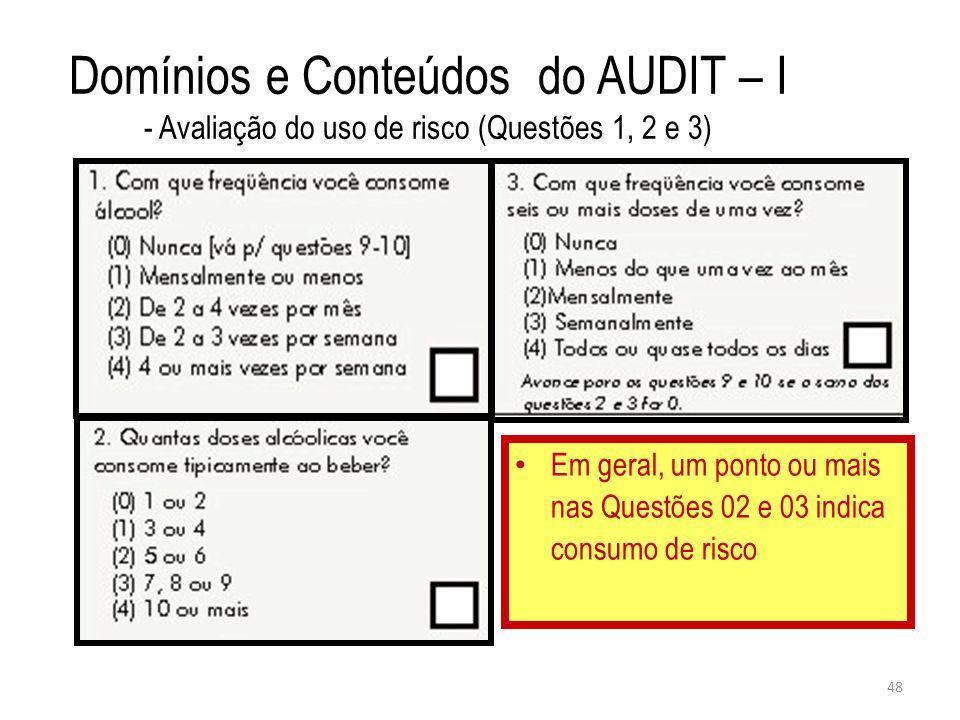 48 Domínios e Conteúdos do AUDIT – I - Avaliação do uso de risco (Questões 1, 2 e 3) Em geral, um ponto ou mais nas Questões 02 e 03 indica consumo de risco