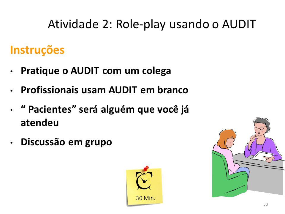 53 Atividade 2: Role-play usando o AUDIT Instruções Pratique o AUDIT com um colega Profissionais usam AUDIT em branco Pacientes será alguém que você já atendeu Discussão em grupo 30 Min.