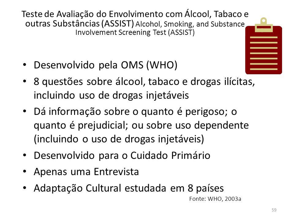 59 Teste de Avaliação do Envolvimento com Álcool, Tabaco e outras Substâncias (ASSIST) Alcohol, Smoking, and Substance Involvement Screening Test (ASS