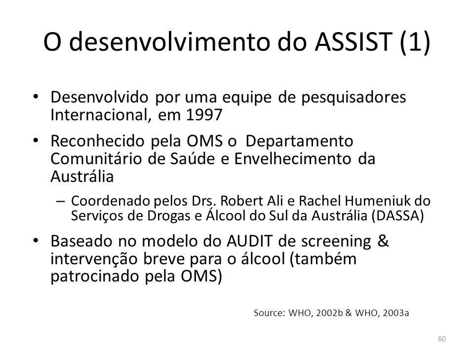 60 O desenvolvimento do ASSIST (1) Desenvolvido por uma equipe de pesquisadores Internacional, em 1997 Reconhecido pela OMS o Departamento Comunitário de Saúde e Envelhecimento da Austrália – Coordenado pelos Drs.