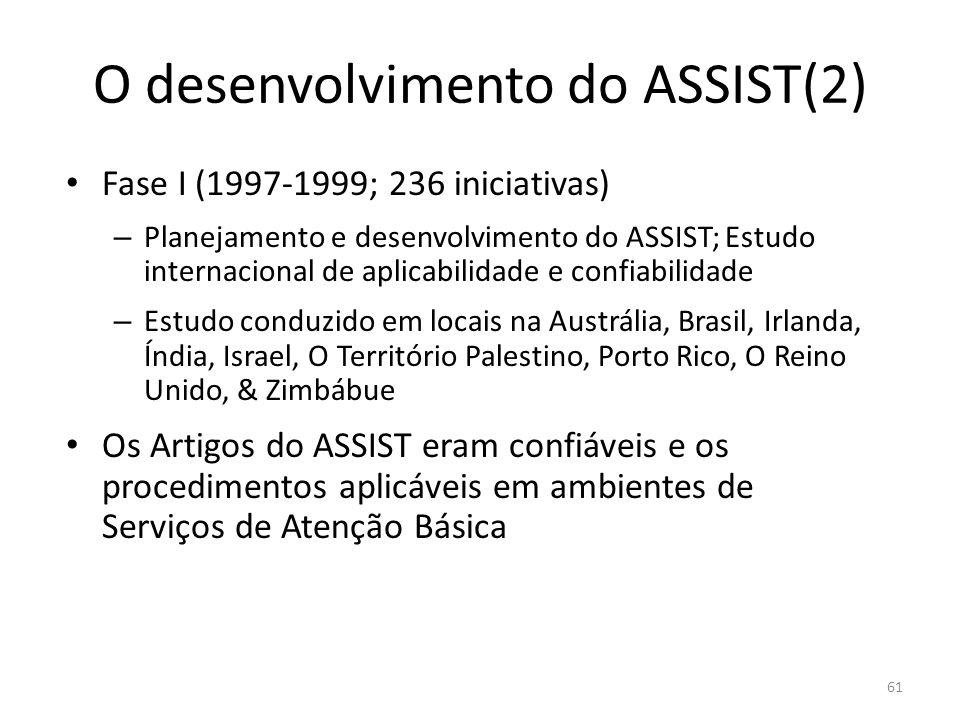 61 O desenvolvimento do ASSIST(2) Fase I (1997-1999; 236 iniciativas) – Planejamento e desenvolvimento do ASSIST; Estudo internacional de aplicabilidade e confiabilidade – Estudo conduzido em locais na Austrália, Brasil, Irlanda, Índia, Israel, O Território Palestino, Porto Rico, O Reino Unido, & Zimbábue Os Artigos do ASSIST eram confiáveis e os procedimentos aplicáveis em ambientes de Serviços de Atenção Básica
