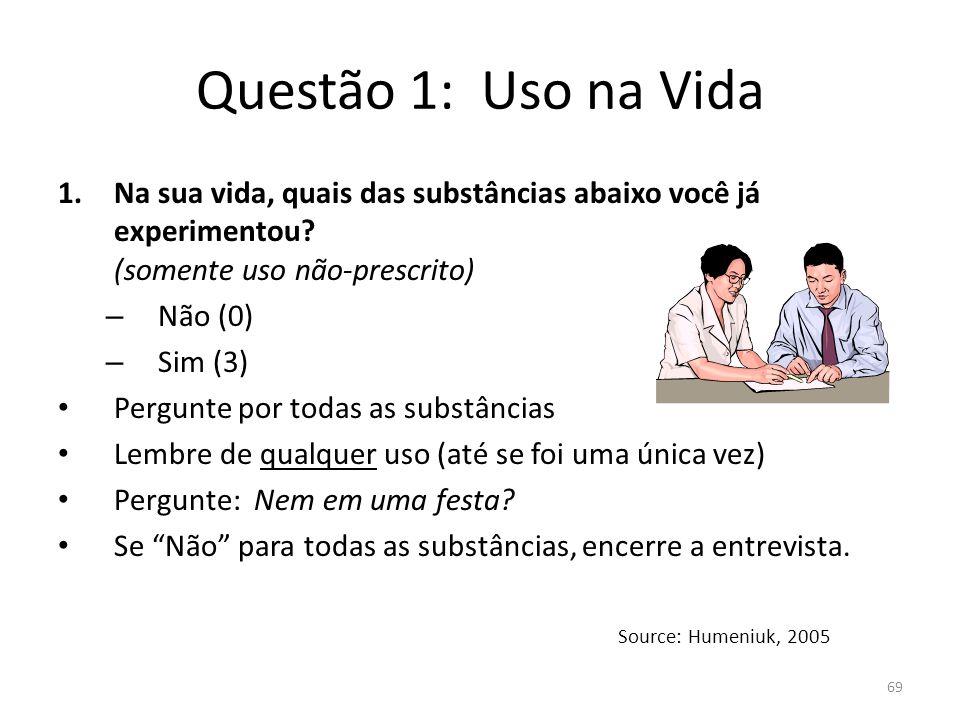 69 Questão 1: Uso na Vida 1.Na sua vida, quais das substâncias abaixo você já experimentou? (somente uso não-prescrito) – Não (0) – Sim (3) Pergunte p