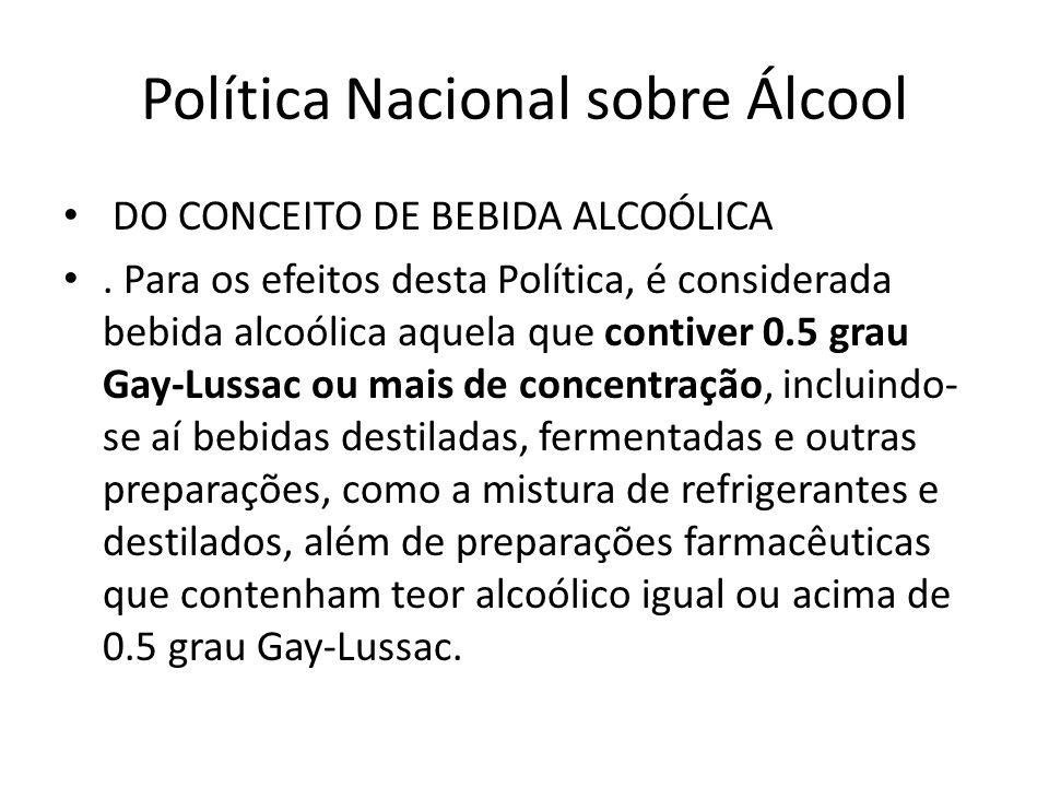 Política Nacional sobre Álcool DO CONCEITO DE BEBIDA ALCOÓLICA. Para os efeitos desta Política, é considerada bebida alcoólica aquela que contiver 0.5