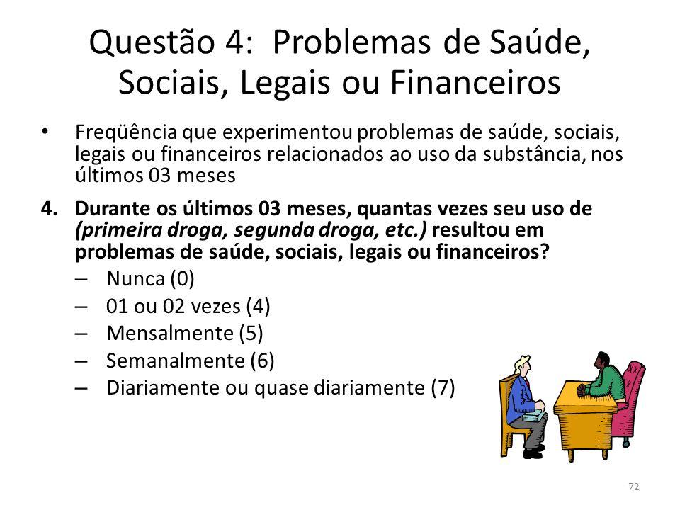 72 Questão 4: Problemas de Saúde, Sociais, Legais ou Financeiros Freqüência que experimentou problemas de saúde, sociais, legais ou financeiros relaci