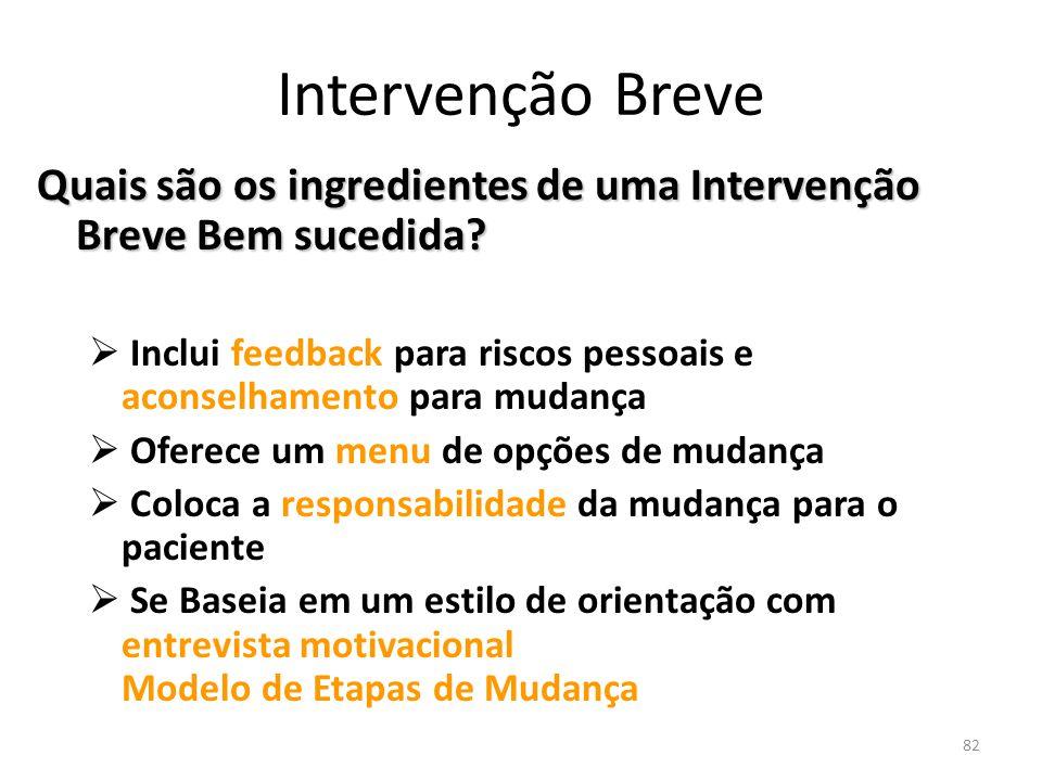 82 Intervenção Breve Quais são os ingredientes de uma Intervenção Breve Bem sucedida? Inclui feedback para riscos pessoais e aconselhamento para mudan