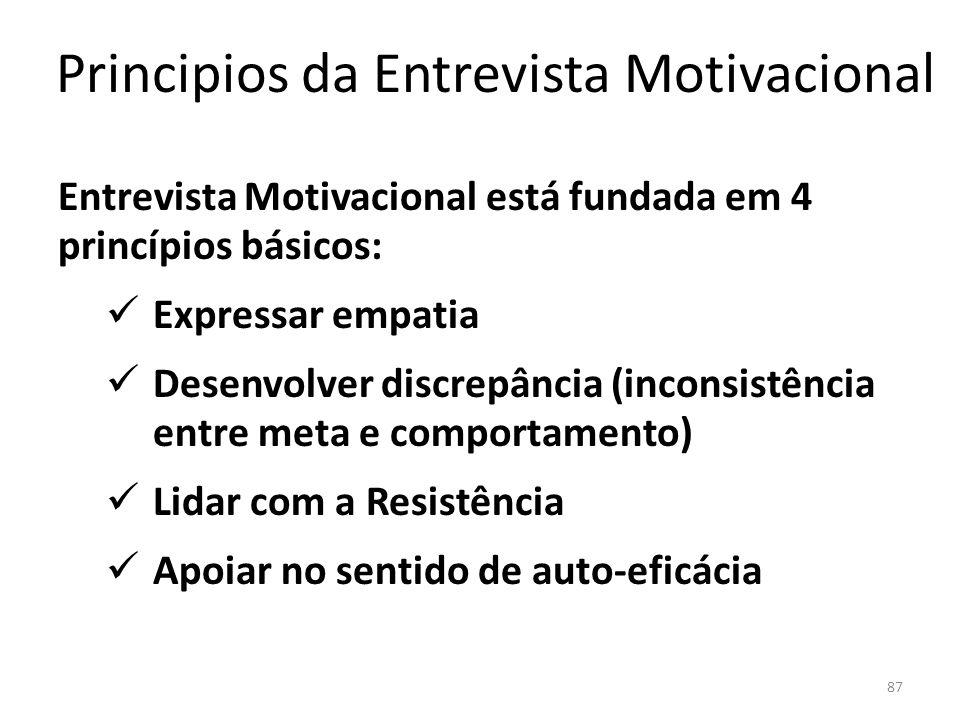 87 Principios da Entrevista Motivacional Entrevista Motivacional está fundada em 4 princípios básicos: Expressar empatia Desenvolver discrepância (inconsistência entre meta e comportamento) Lidar com a Resistência Apoiar no sentido de auto-eficácia