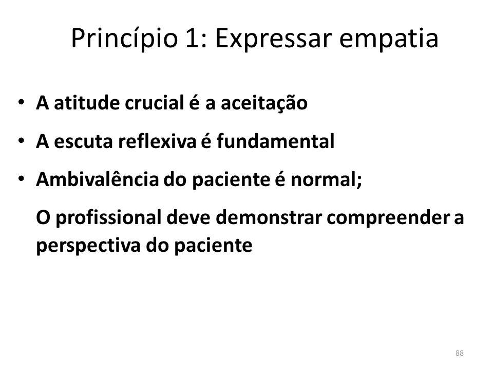 88 Princípio 1: Expressar empatia A atitude crucial é a aceitação A escuta reflexiva é fundamental Ambivalência do paciente é normal; O profissional deve demonstrar compreender a perspectiva do paciente