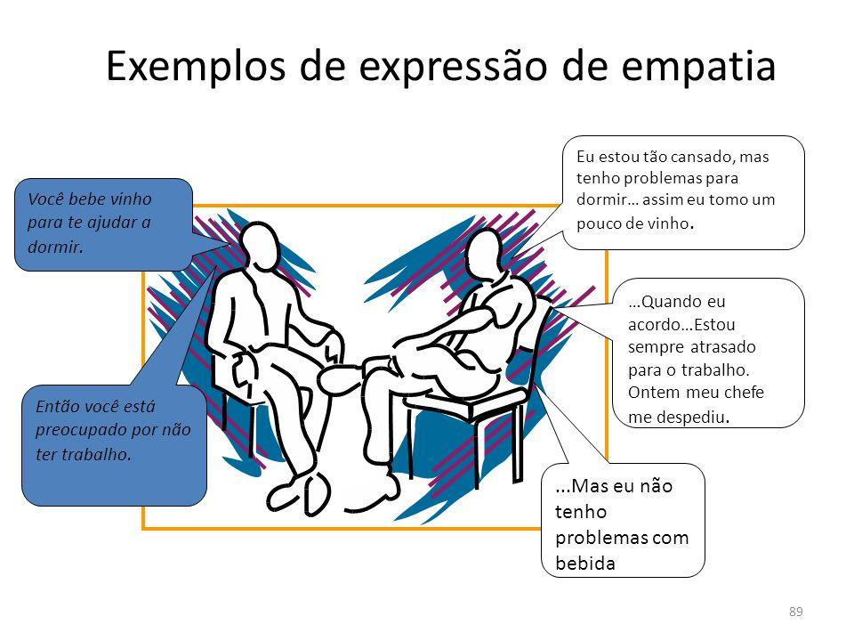 89 Exemplos de expressão de empatia Você bebe vinho para te ajudar a dormir. …Quando eu acordo…Estou sempre atrasado para o trabalho. Ontem meu chefe