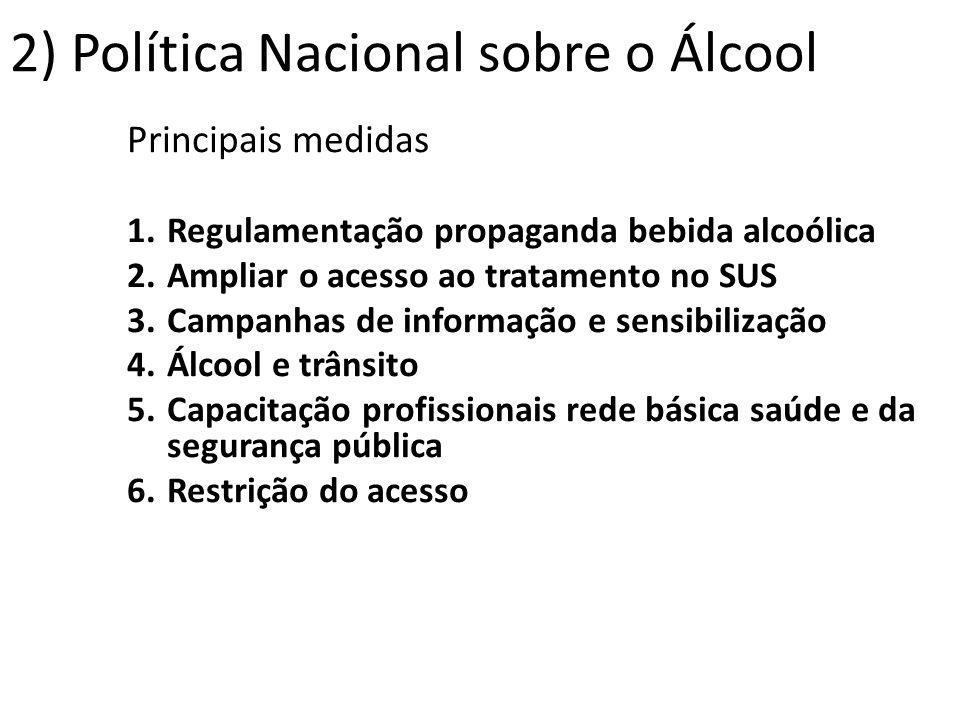Principais medidas 1.Regulamentação propaganda bebida alcoólica 2.Ampliar o acesso ao tratamento no SUS 3.Campanhas de informação e sensibilização 4.Á