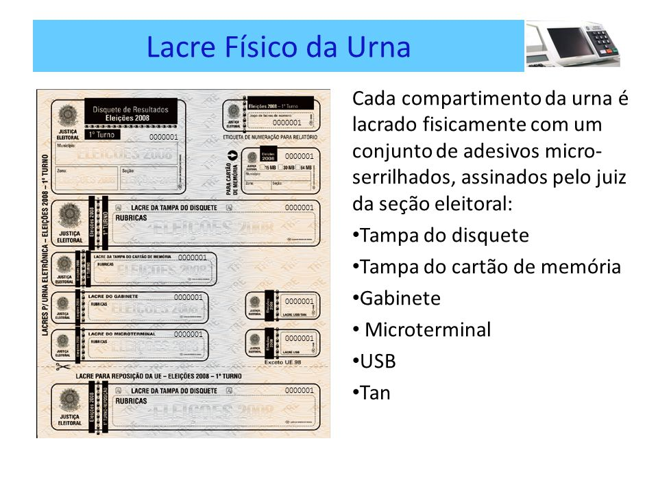 Lacre Físico da Urna Cada compartimento da urna é lacrado fisicamente com um conjunto de adesivos micro- serrilhados, assinados pelo juiz da seção eleitoral: Tampa do disquete Tampa do cartão de memória Gabinete Microterminal USB Tan 0000001