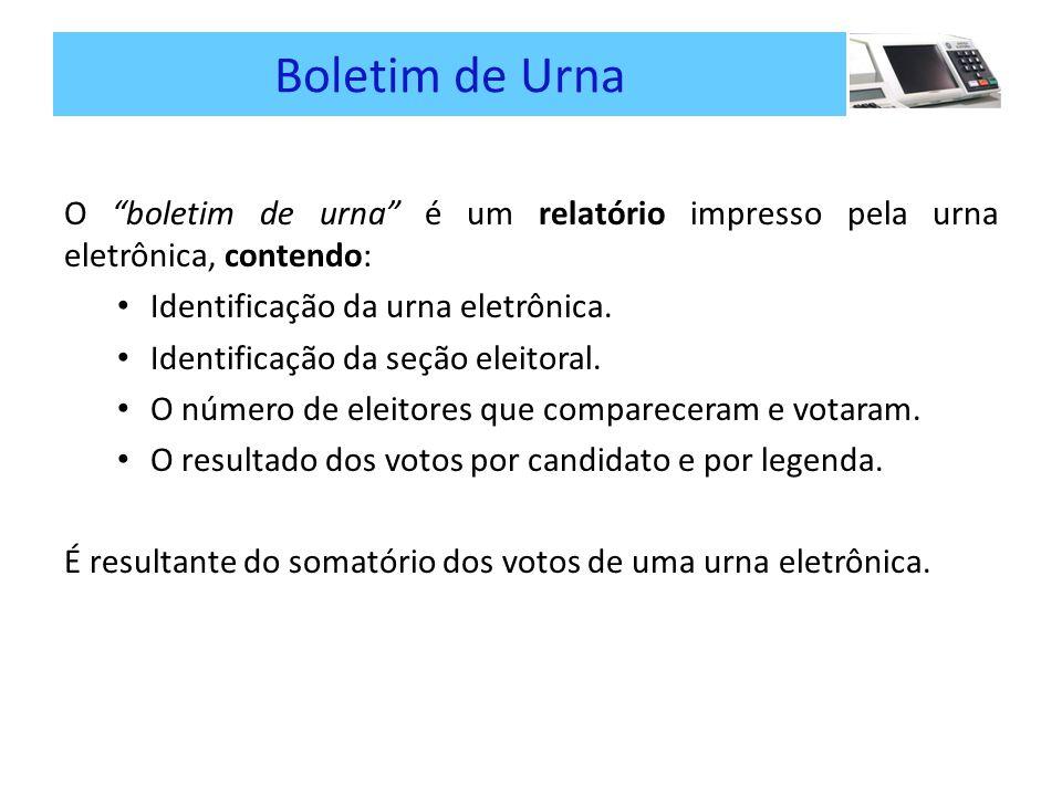 Boletim de Urna O boletim de urna é um relatório impresso pela urna eletrônica, contendo: Identificação da urna eletrônica.