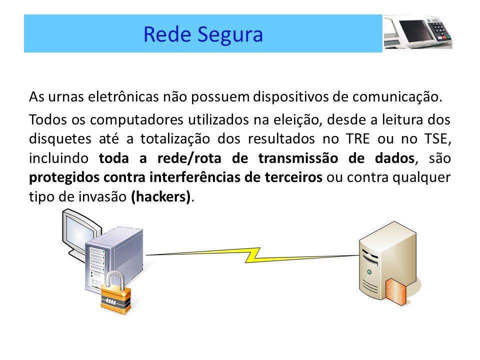 Rede Segura As urnas eletrônicas não possuem dispositivos de comunicação.