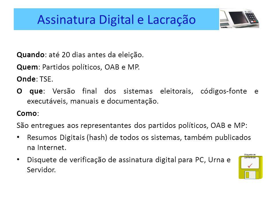 Assinatura Digital e Lacração Quando: até 20 dias antes da eleição.