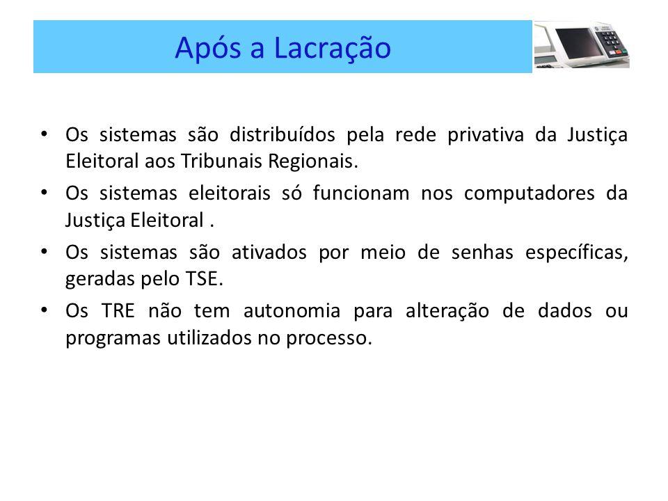 Após a Lacração Os sistemas são distribuídos pela rede privativa da Justiça Eleitoral aos Tribunais Regionais.