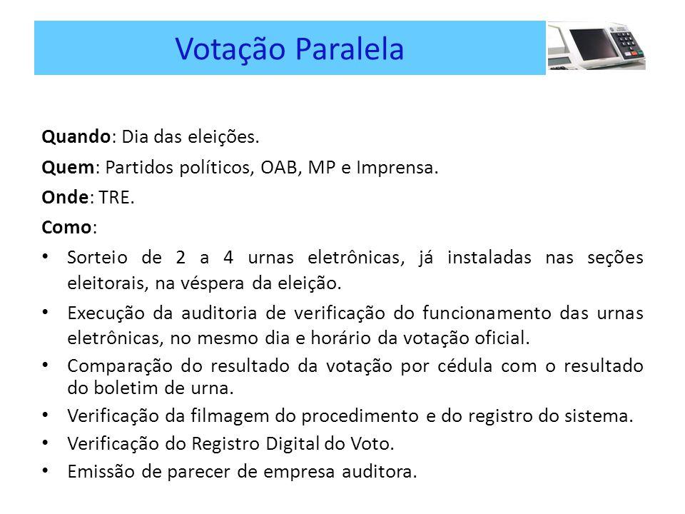 Votação Paralela Quando: Dia das eleições.Quem: Partidos políticos, OAB, MP e Imprensa.