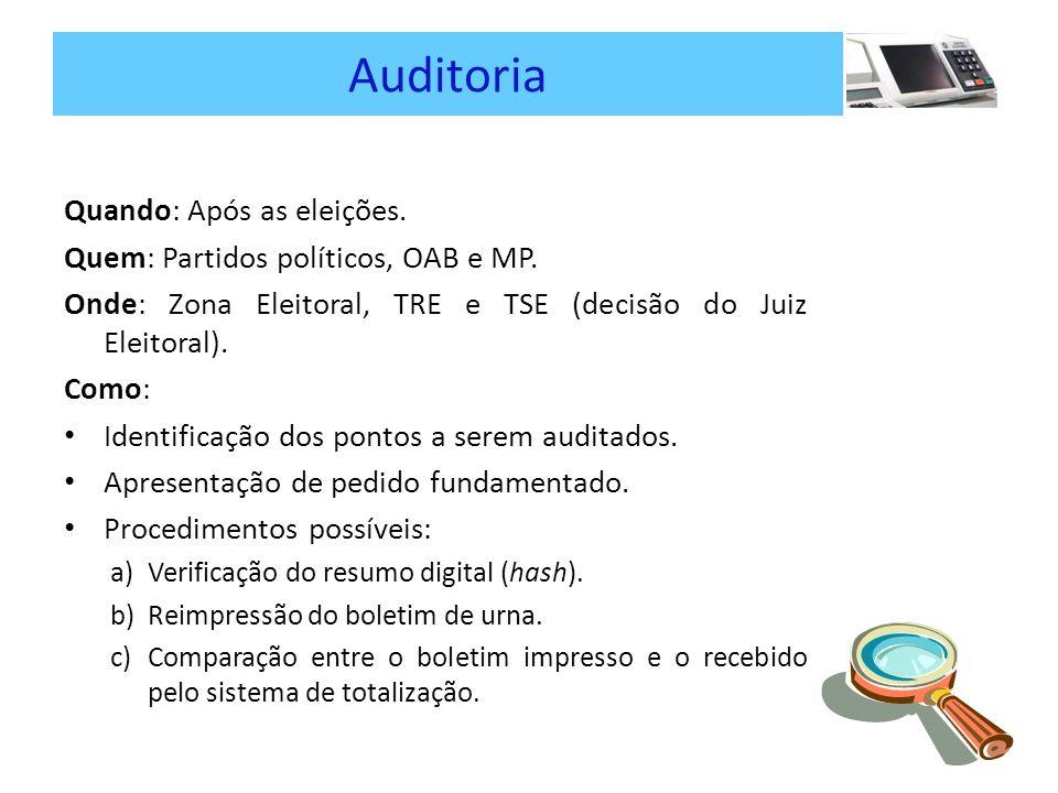Auditoria Quando: Após as eleições.Quem: Partidos políticos, OAB e MP.