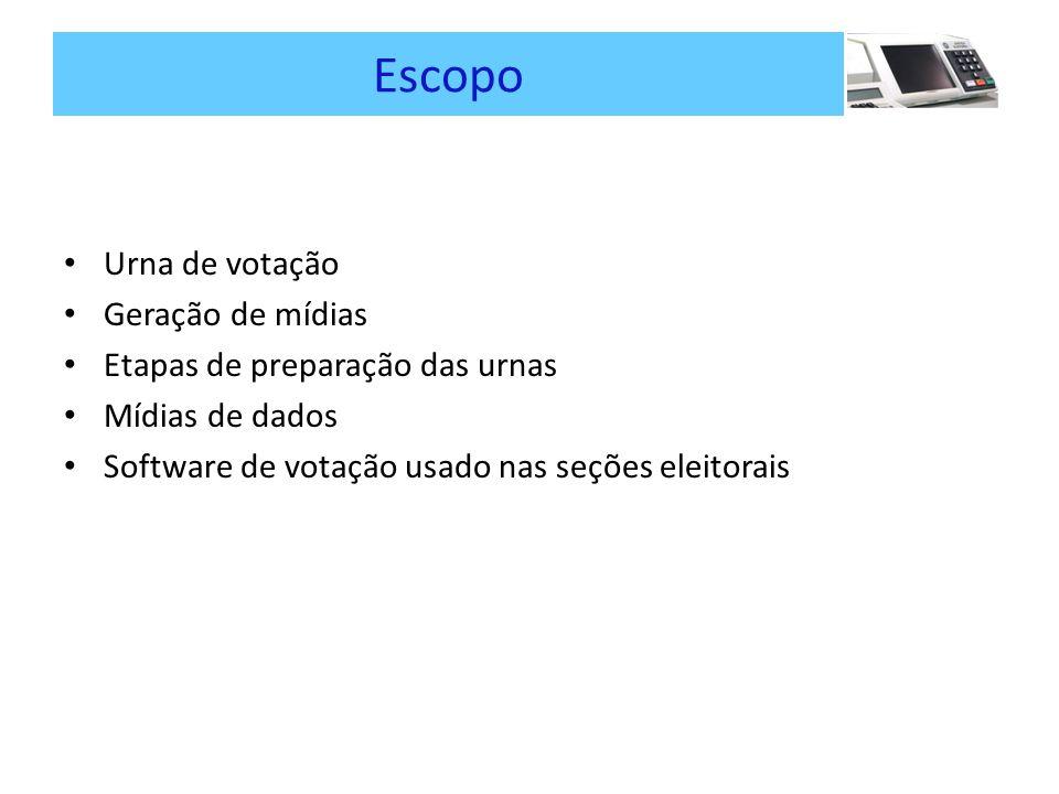 Escopo Urna de votação Geração de mídias Etapas de preparação das urnas Mídias de dados Software de votação usado nas seções eleitorais