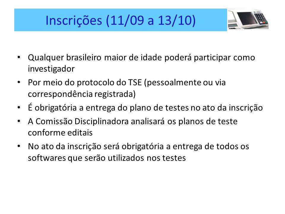 Inscrições (11/09 a 13/10) Qualquer brasileiro maior de idade poderá participar como investigador Por meio do protocolo do TSE (pessoalmente ou via correspondência registrada) É obrigatória a entrega do plano de testes no ato da inscrição A Comissão Disciplinadora analisará os planos de teste conforme editais No ato da inscrição será obrigatória a entrega de todos os softwares que serão utilizados nos testes