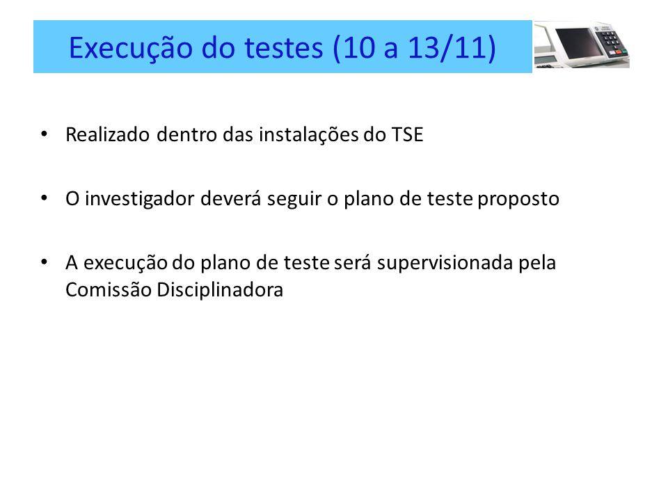 Execução do testes (10 a 13/11) Realizado dentro das instalações do TSE O investigador deverá seguir o plano de teste proposto A execução do plano de teste será supervisionada pela Comissão Disciplinadora
