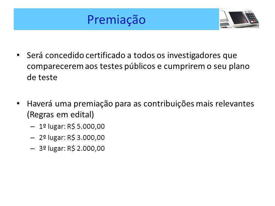 Premiação Será concedido certificado a todos os investigadores que comparecerem aos testes públicos e cumprirem o seu plano de teste Haverá uma premiação para as contribuições mais relevantes (Regras em edital) – 1º lugar: R$ 5.000,00 – 2º lugar: R$ 3.000,00 – 3º lugar: R$ 2.000,00