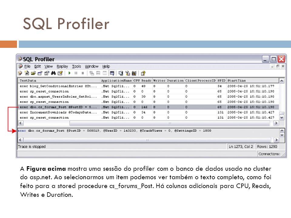 SQL Profiler A Figura acima mostra uma sessão do profiler com o banco de dados usado no cluster do asp.net.