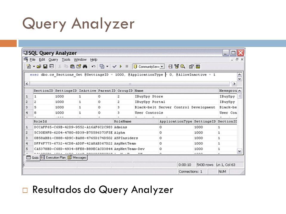Query Analyzer Resultados do Query Analyzer