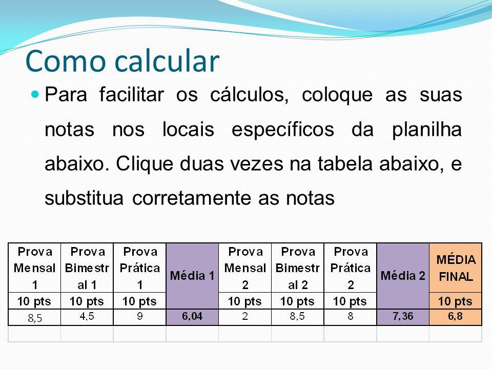 Como calcular Para facilitar os cálculos, coloque as suas notas nos locais específicos da planilha abaixo. Clique duas vezes na tabela abaixo, e subst