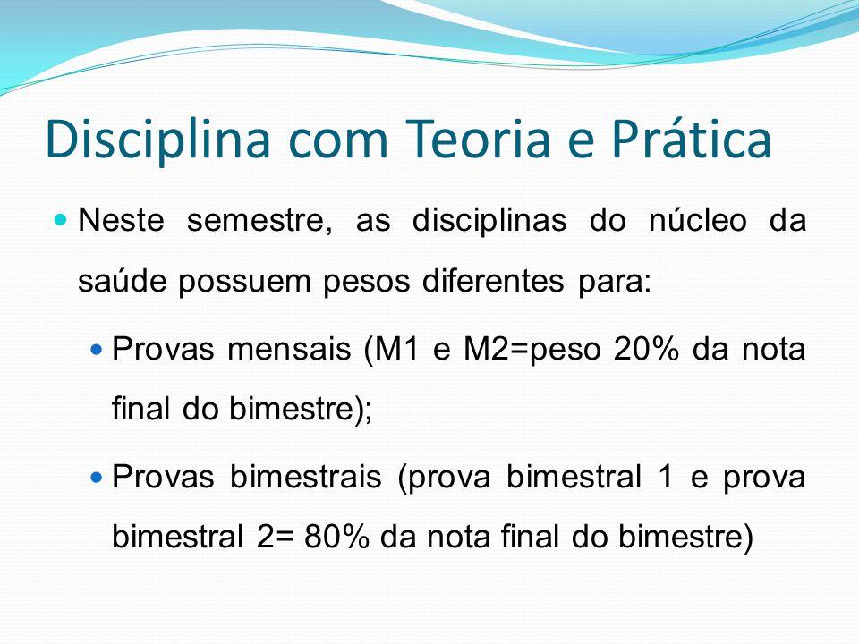 Disciplina com Teoria e Prática Neste semestre, as disciplinas do núcleo da saúde possuem pesos diferentes para: Provas mensais (M1 e M2=peso 20% da n